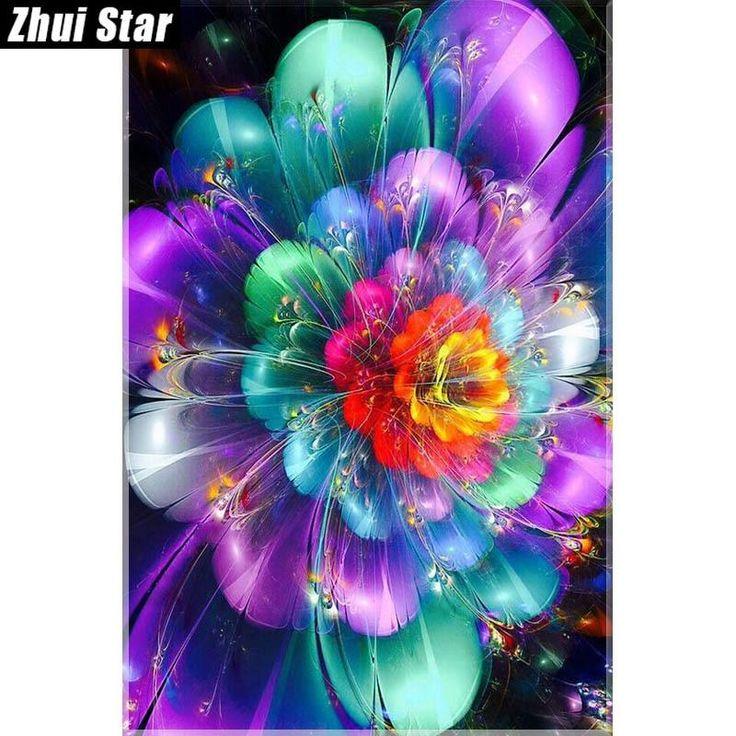 "Zhui Star 5D DIY Diamond Painting ""Colored flowers"" Embroidery Full Square Diamond Cross Stitch Rhinestone Mosaic Decor Gift"