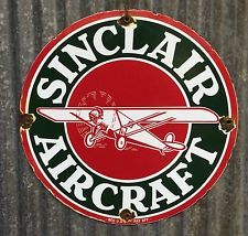 SINCLAIR AIRCRAFT OIL / GASOLINE VINTAGE PORCELAIN SIGN PUMP PLATE GAS LUBESTER