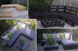 Idée et astuce transformation de palette en salon de jardin