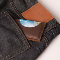 Houston Slim Wallet/Cardholder, Navy Stitch | Odessa Goods