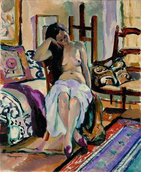 Henri Manguin (French, 1874-1949) – Model in a Painter's Studio c.1900 – Regarded as one of the creators of the Fauve movement, Manguin was influenced by Cezanne: illogical construction, harmonious colour tones, and importance of ornament. Manguin had his own touches in the use of fiery and tumultuous tonal strengths… (Németh György)