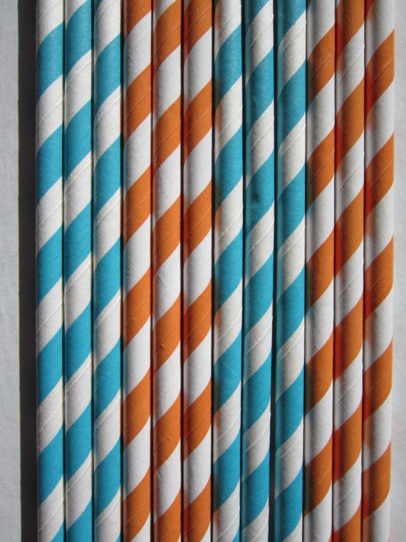 24 Orange & Peacock Paper Straws by DKDeleKtables on Etsy