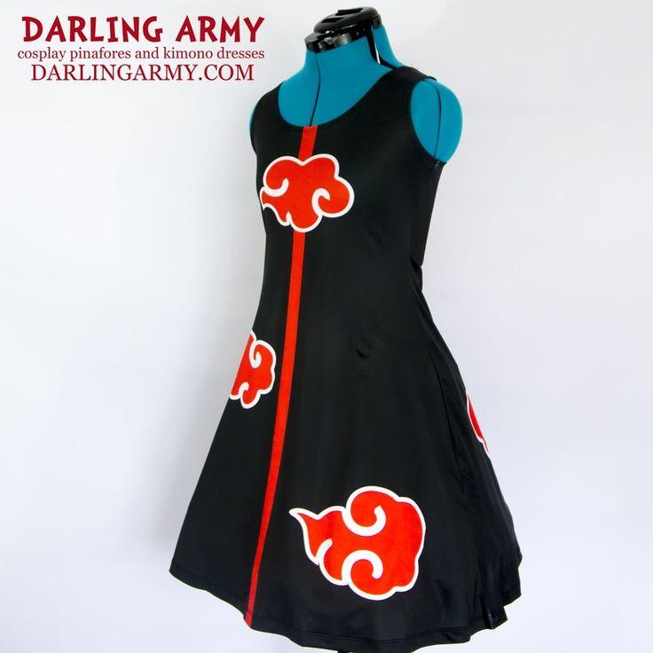 Akatsuki Naruto Shippiden Cosplay Printed Cloud Dress | Darling Army