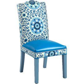 """Showcasing nailhead-trimmed cotton upholstery and a scrolling medallion motif, this eye-catching side chair brings colorful appeal to your dining room or home office.    Product: ChairConstruction Material: Alder wood, cotton, metal and ultra leather Color: BlueFeatures:  Nailhead trimMade in the USA 19"""" Seat depthSpring seatingDimensions: 40"""" H x 19"""" W x 21"""" DCleaning and Care: Professional cleaning onlyAssembly: No assembly required"""