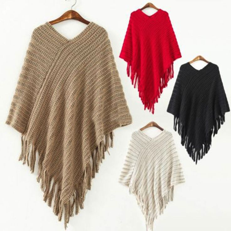 Ladies Poncho Jumper Womens Knitted Cape Sweater Winter Top Check Pullover Shawl #Unbranded #CoverUp