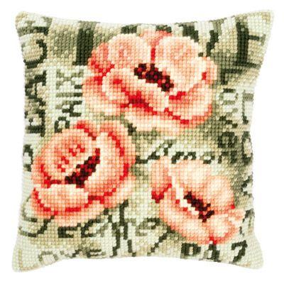 Набор для вышивания подушки Vervaco  Вервако Розовые Маки  PN-0144839
