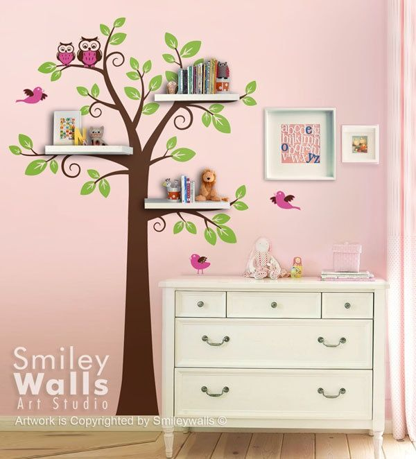 Girly room tree shelves