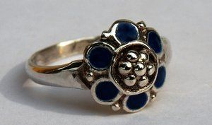 MARIA FLOWER RING BLUE