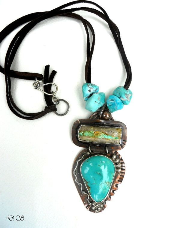 Mixed Metalwork Rustic Southwestern Arizona New by jewelrybyDebra  ||  Materials: brown leather, hand drilled turquoise beads, turquoise cabochons, sterling silver clasp, copper, sterling silver, ribbon turquoise  ||  $150.00