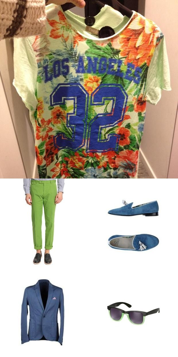 A colorful male #outfit for a trendy floral shirt. Brands: Carvin, Enrico Fantini, Patrizia Pepe, Promod