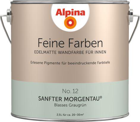 Premium-Wandfarbe. Grün, graugrün: Alpina Feine Farben SANFTER MORGENTAU – Alpina Farben