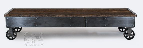 Reclaimed Wood & Steel Rolling Coffee Table Rolling Cart