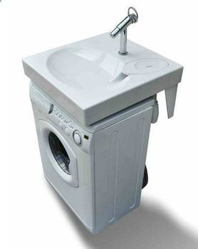 Space saving washbasin, flat bathroom sink fits above washing machine. Recycle water to washing machine?