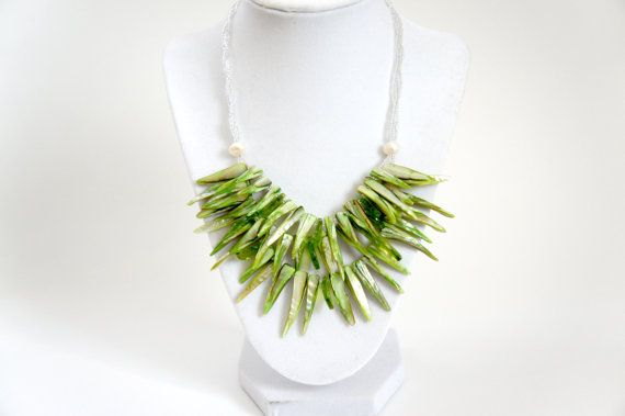 Green Shell & Freshwater Pearl Bib Statement Necklace by #iriselise