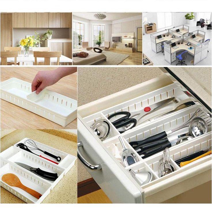 Ajustable Nuevo Divisor de Cajón Organizador Casa Cocina Envío de Maquillaje Caja de Almacenamiento de Vajilla de Diseño Creativo