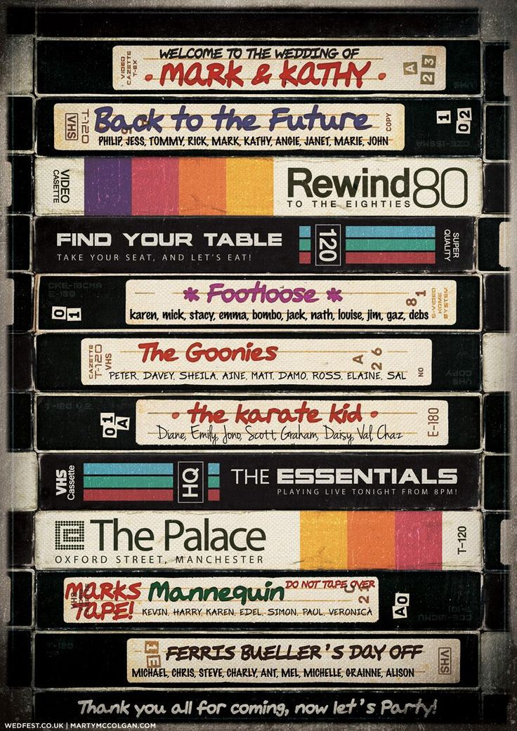 80's movie vhs themed wedding seating plan.  *Not that I'm getting married anytime soon-but I LOVE this idea!!!!!!!!*