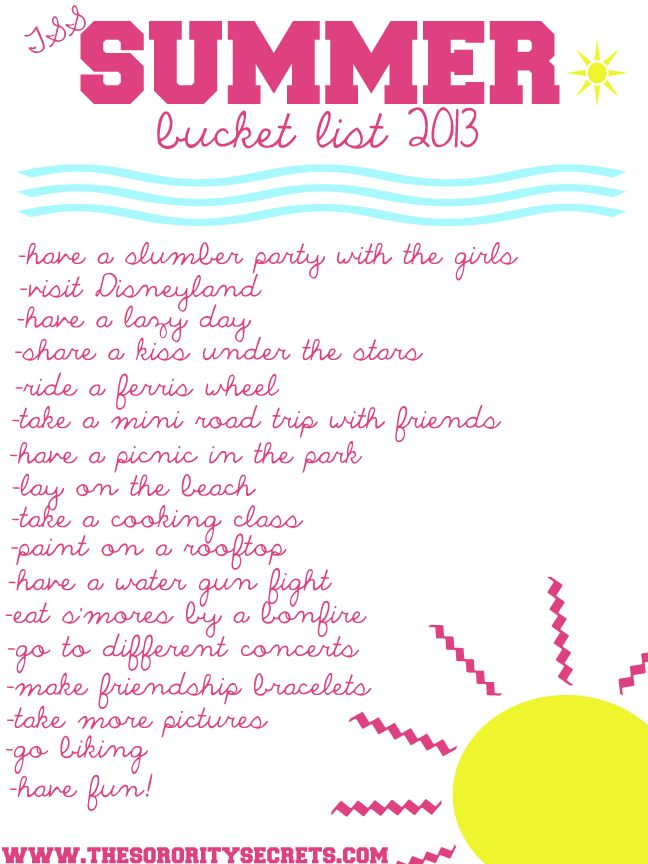 TSS Summer Bucket List 2013 add movie in the park, throw rocks in a lake, go on a hike, float down a river, make homemade ice cream, go to the zoo, watch sunset and sunrise