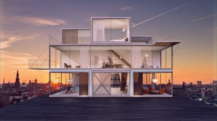 The modular design concept uses a system of interlocking blocks to create three customizable homes with twisted floor plans in one structure, with each residence providing panoramic views.