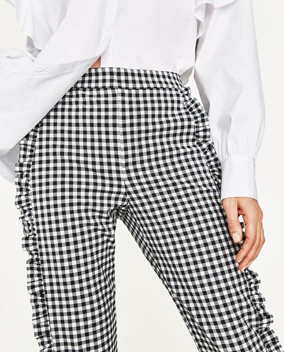 Image 4 of GINGHAM TROUSERS from Zara