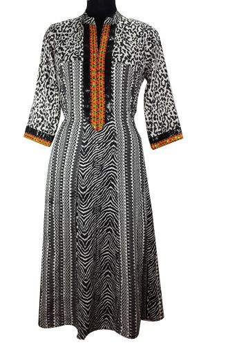 Kurti Pattern - Tiger Print Black & White Anarkali, Front hand work sequence and floral fluorescent border with sequins on sleeves, 3/4 Sleeves, Flared Anarkali, Teamed up with Contrast Pygame and Georgette Chiffon Dupatta .