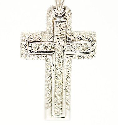 Vintage 14k White Gold SI1,G, 0.26tcw Pave Double Diamond Cross Necklace 16""