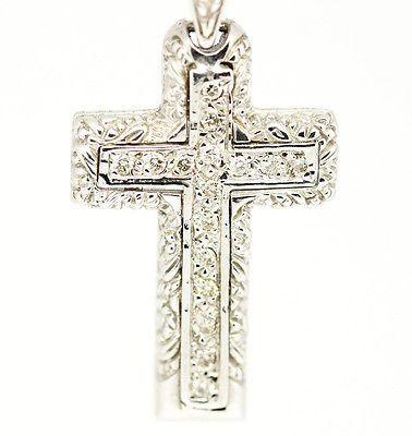 "Vintage 14k White Gold SI1,G, 0.26tcw Pave Double Diamond Cross Necklace 16"""