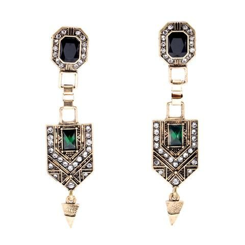 Vintage Green Crystal Drop Earrings