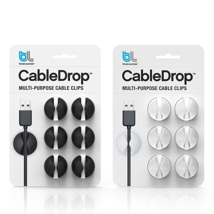 Bluelounge CableDrop, Vit, 6-pack, Bluelounge
