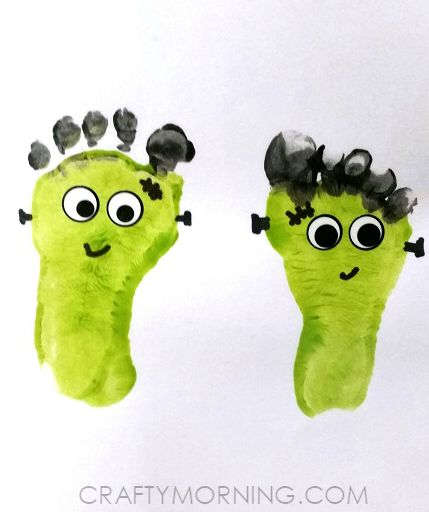 Footprint Frankensteins (Kids Halloween Craft) - Crafty Morning