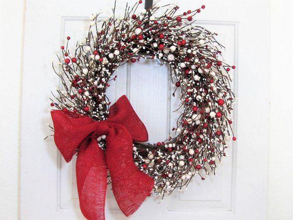 Christmas Berry Storm Door Wreath Ivory Red Berry Wreath Holiday Wreath Front Door Decor Valentine Hom Red Berry Wreath Berry Wreath Door Decorations