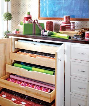 Like the idea but as a freestanding, rolling, shallow cabinet with drawers for the paper and smaller ones for ribbon, tags, tissue and bows