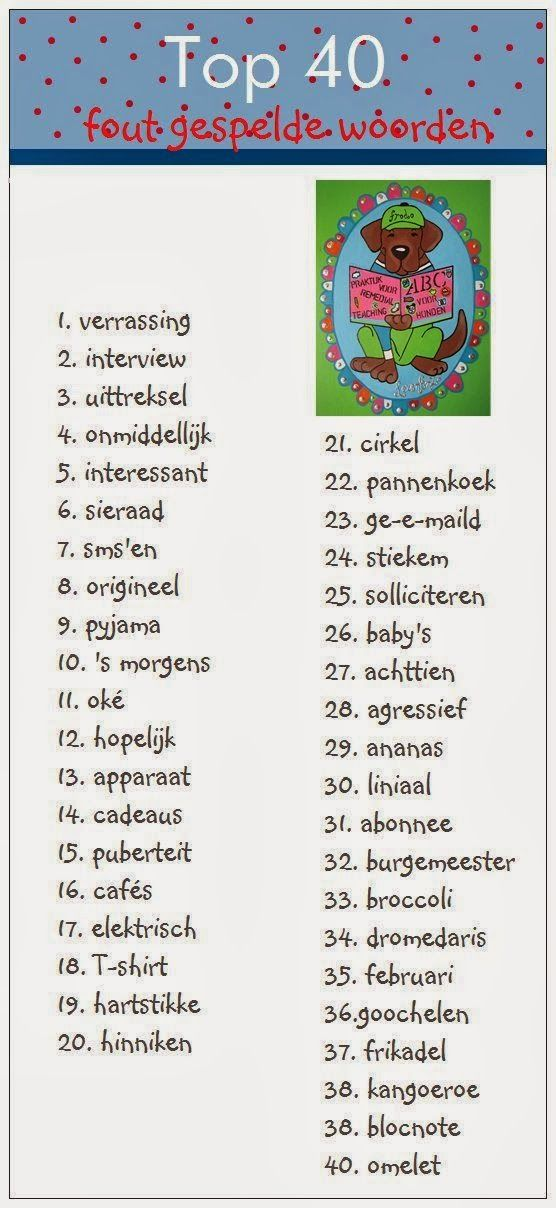 Juf-Stuff: Top 40 fout gespelde woorden