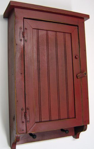 Barn Red Kitchen Cabinets   Cabinet Primitive Country Rustic Wood Beadboard Face with Pegs Barn ...