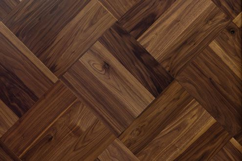 American Walnut parquet in a diagonal basket weave