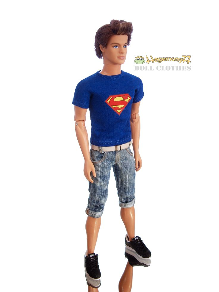 Ken doll in Superman T shirt and washed worn jeans shorts with ...