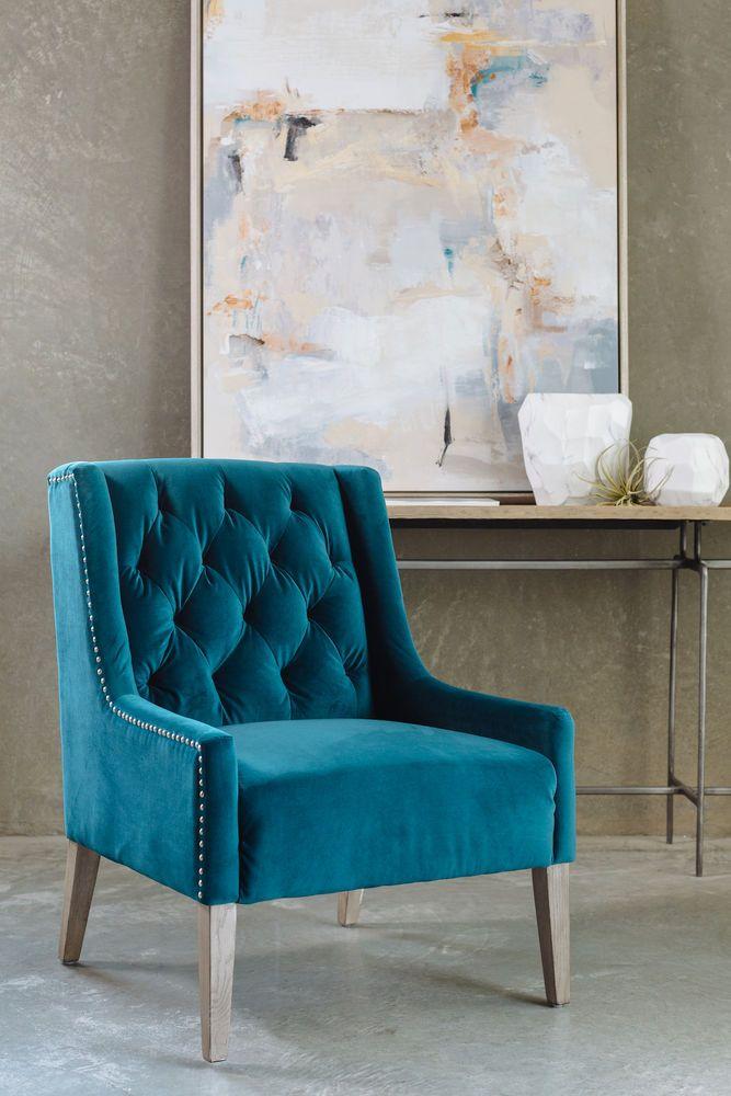 Boulevard Oceanside Blue Velvet Accent Chair Coty Decor Trends