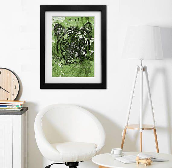 Tiger print, wall art, green wall art, Psychedelic art, by vicci lee