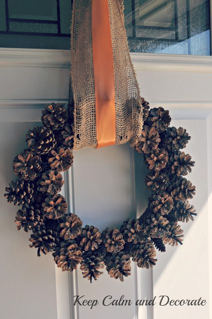 Pinecone Wreath ~ I really should make one of these with all the pine cones from the yard!