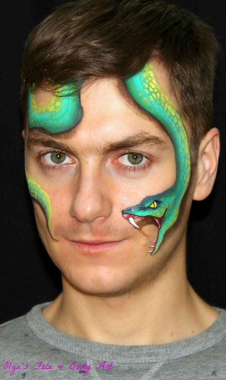 easy realistic snake face painting design face paint artist olga meleca pinterest face. Black Bedroom Furniture Sets. Home Design Ideas