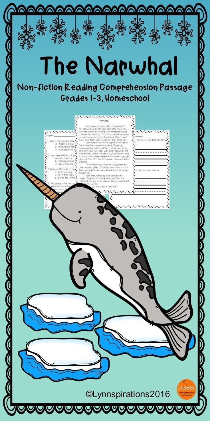 Winter Animals The Narwhal Reading Comprehension Passage For Grades 1 3 Reading Comprehension Passages Comprehension Passage Reading Comprehension