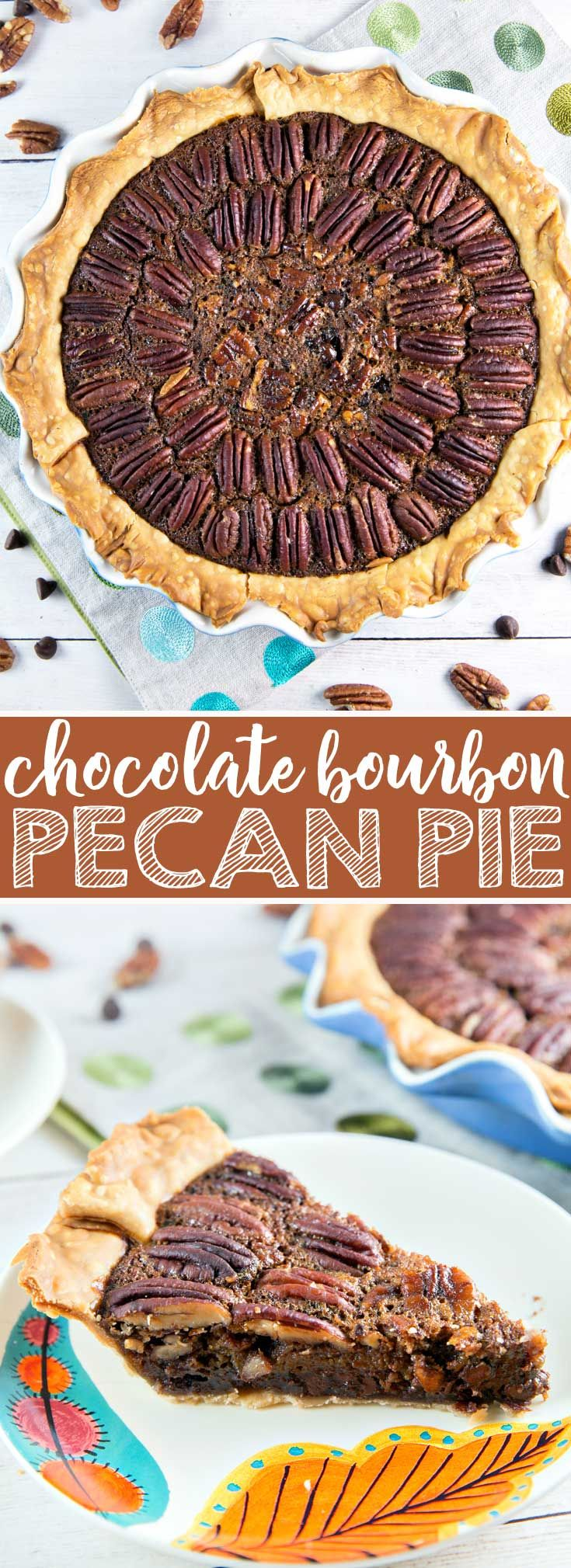 Chocolate Bourbon Pecan Pie: rich and decadent, this is an easy, crowd pleasing dessert, perfect for your holiday table... or any time of year! {Bunsen Burner Bakery} #pie #pecanpie #chocolate #bourbon #Thanksgiving via @bnsnbrnrbakery