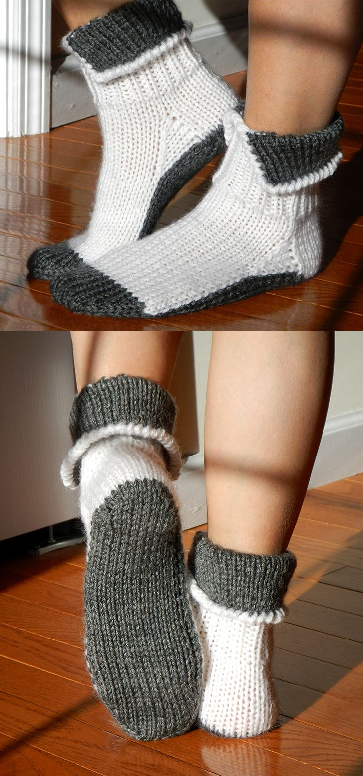 Ankle length socks in two colours. Tricky part is to connect the two colours seamlessly.
