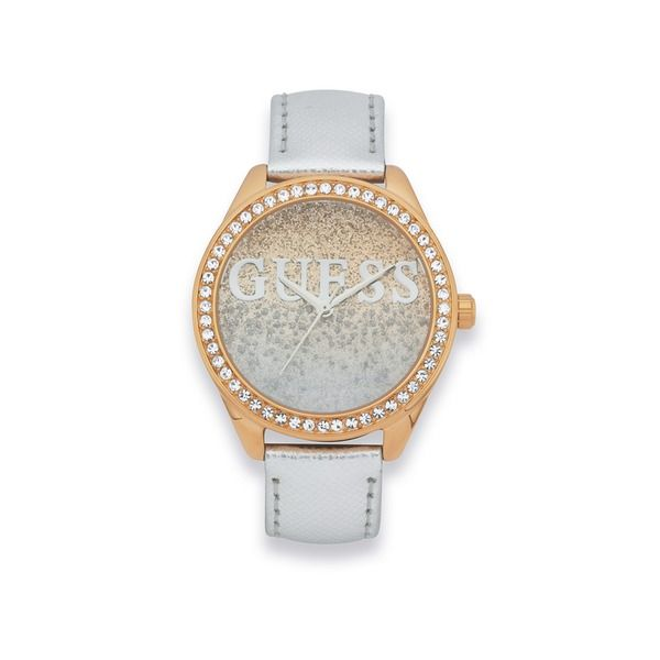 Guess Ladies Silver Leather Strap Watch