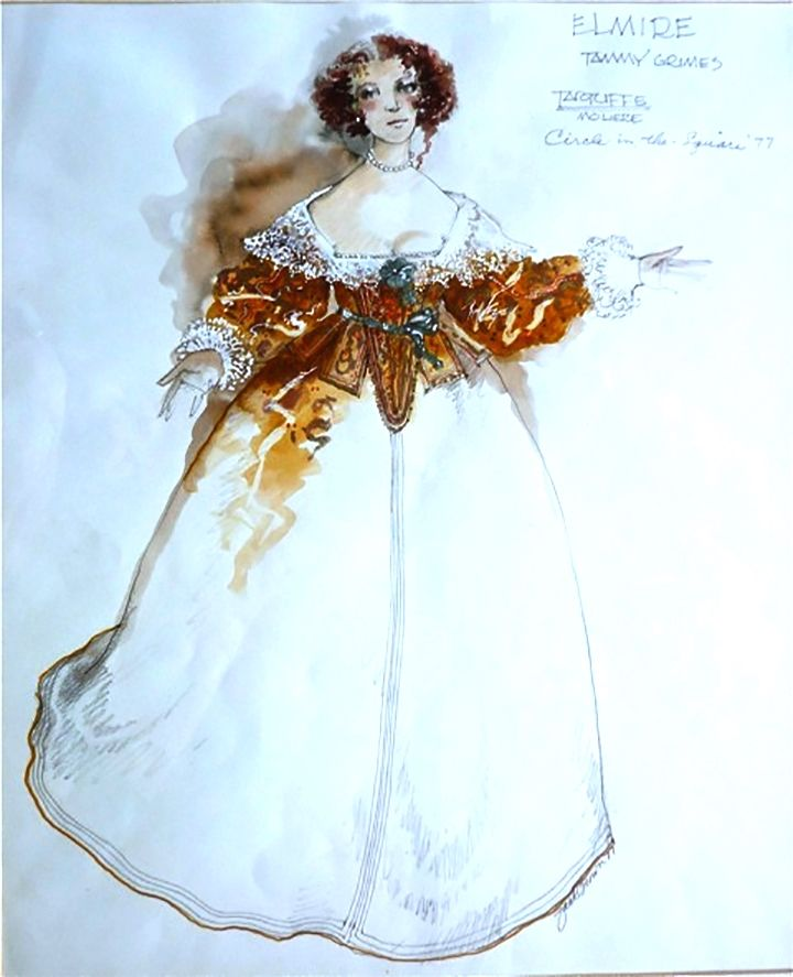 best tartuffe images costume design th  tammy grimes as elmire in tartuffe circle in the square framed costume sketch by zack brown