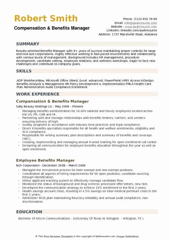 Human Resource Administrator Resume Luxury Benefits Manager Resume Samples In 2020 Resume Summary Manager Resume Resume