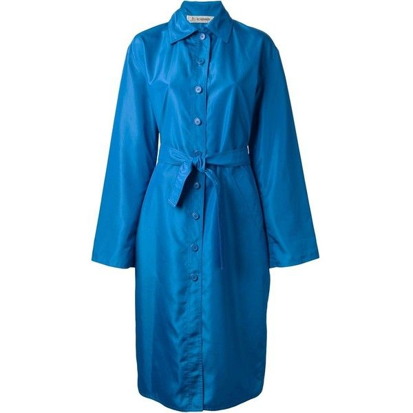Jean Louis Scherrer Vintage Long Belted Raincoat ($557) ❤ liked on Polyvore featuring outerwear, coats, blue, belted raincoat, long rain coat, long sleeve coat, long coat and blue raincoat
