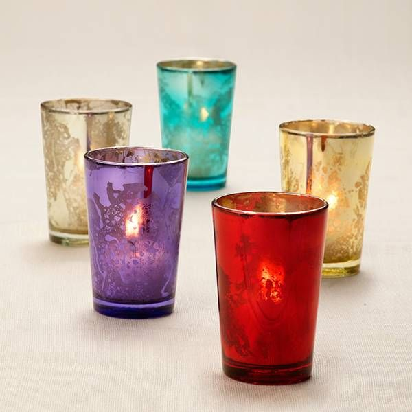 Mercury glass votive holders.