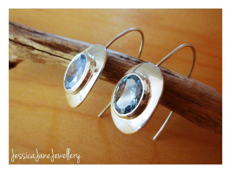 Aqua Sterling Silver Earrings