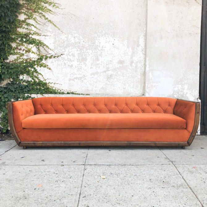 Vintage Deep Orange Velvet Sofa With