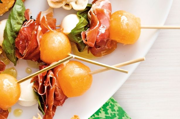 These skewers combining sweet and salty flavours are a great way to kick off a dinner party.